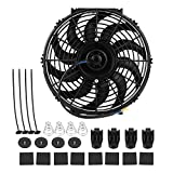 Electric Cooling Radiator Fan, 12 inch Universal Car Slim Push Pull Electric Engine Cooling Fan Electric Radiator Slim Fan with Mounting Kit S Blade Reversible 12V 80W