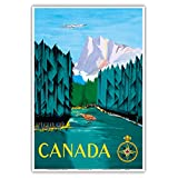 Canada - River Log Driving - Vintage Airline Travel Poster by Jean Doré c.1951 - Master Art Print - 13in x 19in