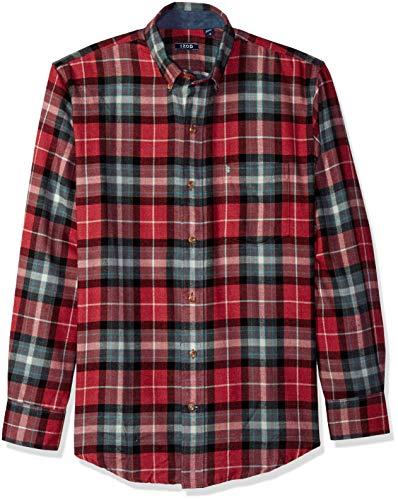 (IZOD Men's Stratton Long Sleeve Button Down Plaid Flannel Shirt, Biking red, Large)