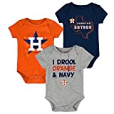 OuterStuff Houston Astros Big Time Fan Toddler 3-Pack Baby Creeper Bodysuit Set