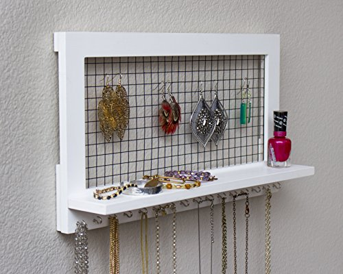 White Wooden Wall Mount Jewelry Organizer for Earrings / Necklaces / Bracelets / Accessories (White Wood)