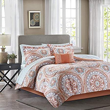 Madison Park Essentials Serenity Twin XL Size Bed Comforter Set Bed in A Bag - Blue, Medallion – 7 Pieces Bedding Sets – Ultra Soft Microfiber Bedroom Comforters MPE10-567