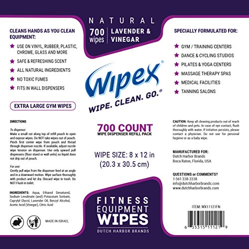 Wipex Gym & Fitness Wipes Refill Pack, 700 Large Natural Wipes Infused with Vinegar & Lavender (4) by Wipex (Image #5)