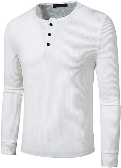 MakingDa Henley - Camisa básica de manga larga para hombre sin cuello liso para hombre