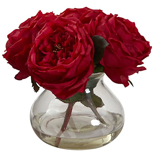 (Nearly Natural 1391-RD Fancy Rose with Vase, Red)
