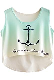 f3ffa9bfcde Amazon.com: Hip Hop Unicorn Rainbow Women's Girls Crop Top Fashion ...
