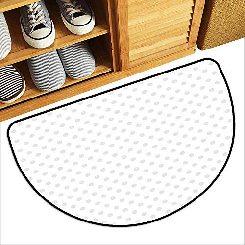 DILITECK Bedroom Doormat Grey Small Polka Dots on White Backdrop Retro Style Spotted Traditional Pastel Pattern Breathability W36 xL24 Pale Grey White