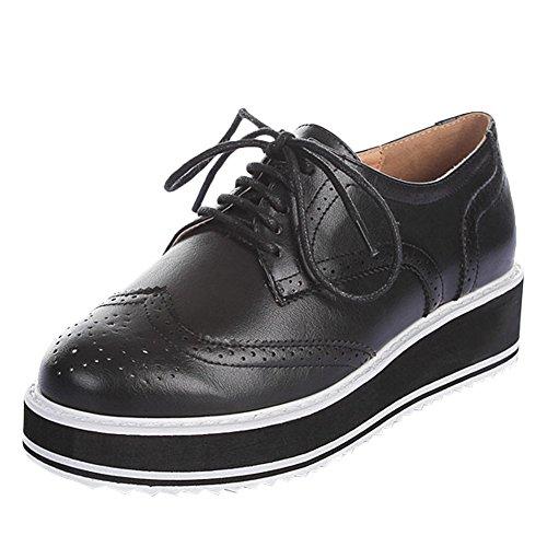 Charm Women's Western Shoes Black Up Foot Platform Oxfords Wedge Lace 66Urvwg