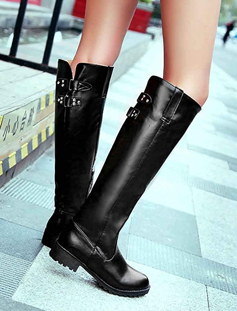 Low Chunky Heels Lug Sole Outdoor Round Toe Pull On Womens Knight Knee High Boots