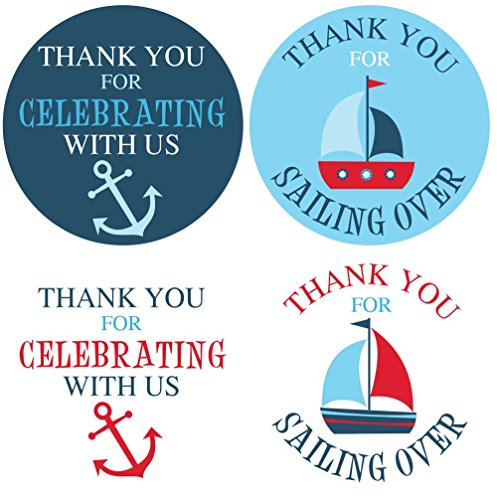 (2 Inch Thank You Stickers Nautical Boy Set of)