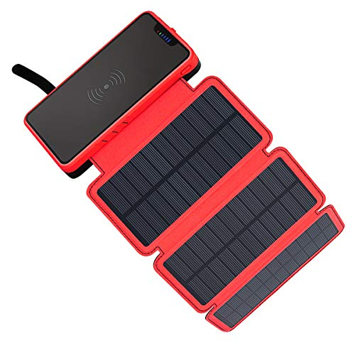 - Solar Charger 20000mAh Soluser Wireless Portable Power Bank High Capacity External Battery Backup with 3 Solar Panels Emergency LED Flashlight Dual 5V/2.1A USB Ports for Smartphones