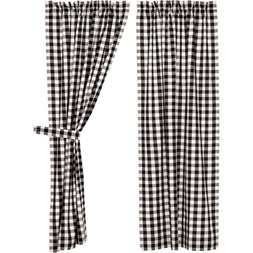 VHC Brands Classic Country Farmhouse Window Annie Buffalo Check White Lined Short Curtain Panel Pair, Black (Checked Curtains)