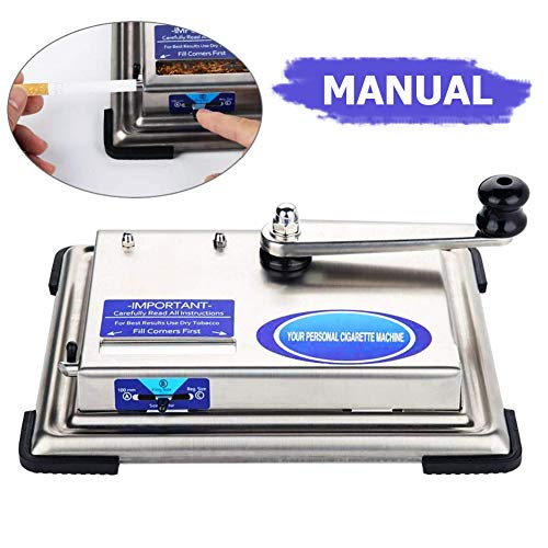 Cigarette Rolling Machine Manual Hand Tobacco Rolling Machine lcfun Cigarette Injector Rolling Machine Roller Maker for 100,King,Regular Cigarette Tubes (Silver) ()