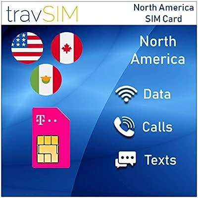 travSIM - Tarjeta SIM Prepaga T-Mobile Para US, Canadá Y México - 50GB De EE. UU., 5GB De Datos Combinados CA Y MX 4G LTE, Llamadas De Voz Nacionales ...