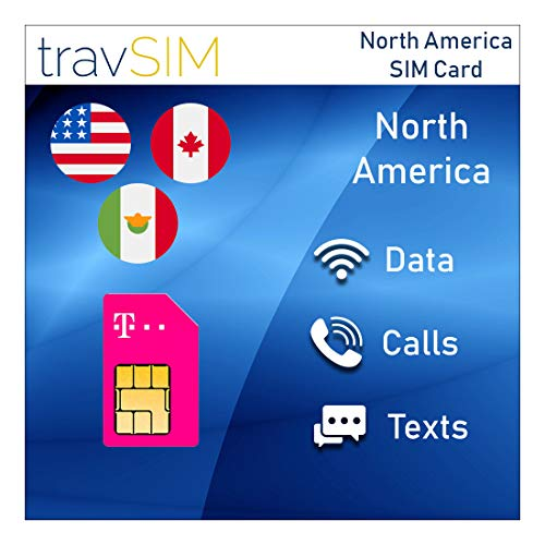 travSIM T-Mobile Prepaid USA, Canada & Mexico SIM Card - 50 GB US, 5 GB CA & MX Combined - 4G LTE Data - Unlimited National Voice Calls & Text Messages - Valid for 15 Days