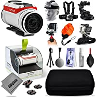 TomTom Bandit 4K Action Camera with Headstrap + Chest Harness + Suction Cup + Handgrip + Floaty Strap + Wrist Hand Glove + Premium Case + Mini Tripod + Dust Blower + Cleaning Kit