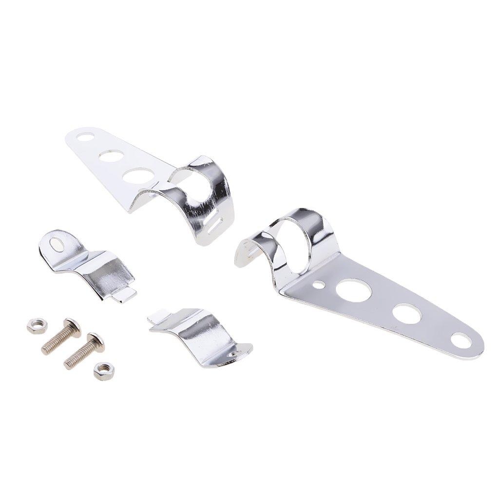 MonkeyJack Chrome Universal Motorcycle Headlight Brackets - Fits 31mm - 37mm Fork Tubes - 38MM-51MM