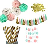 Party Decoration Kit - Coral, Mint Green & Gold - Tissue Paper Decor w/ Paper Straws, Pom Poms, Assembled Tassels, Garland - Birthday Parties, Bridal Showers, Baby Showers, Bridal, Wedding, Engagement