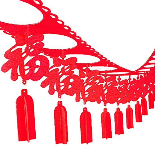 Spring Festival Decorations Chinese New Year Spring Festival Non-Woven Hanging Garland Banner for Home Parties Celebration Decoration Supplies Style A