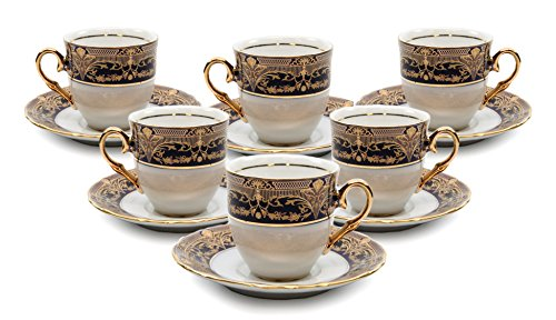 - Royalty Porcelain 12-pc Tea Cup Set, Cups and Saucers, Vintage Dark Cobalt Blue and Gold Pattern, Bone China Tableware (8 Oz)