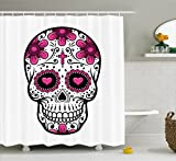 Black and Hot Pink Shower Curtains Sugar Skull Shower Curtain by Ambesonne, Flowers and Hearts Swirls Cruciform Gothic Cultural Celebration Day, Fabric Bathroom Decor Set with Hooks, 105 Inches Extra Wide, Hot Pink Black White