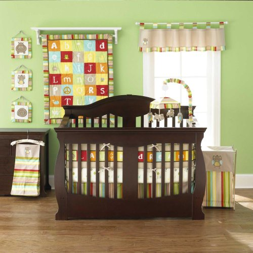 A-Z Reversible 4 Piece Baby Crib Bedding Set by Too Good by Jenny