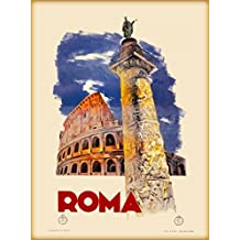 1935 Roma Rome Italy Coloseum St. Peters Basilica Vintage Travel Advertisement Poster. Poster measures 10 x 13.5 inches.