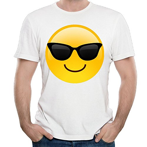 ZhiqianDF Men's Smiling Face With Sunglasses Cool Emoji ParticularFunny Shirt White - Beckham Sunglasses Odell