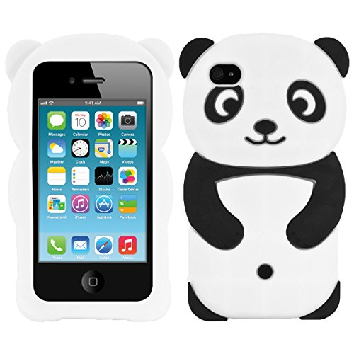 (kwmobile Panda Silicone Case for Apple iPhone 4 / 4S - Soft Silicone Gel Protective Cover with Cute Design )