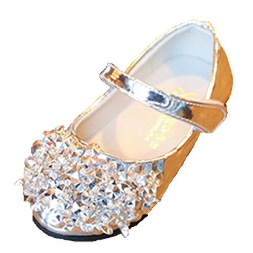 Ohmais Kinder Mädchen flach Freizeit Sandalen Sandaletten Kleinkinder Mädchen Halbschuhe Sandalette Ballerinas Silver