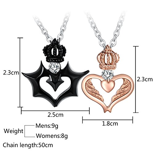 Aienid Him and Her Necklaces Stainless Steel Devil and Angel Love Crown Pendant with CZ by Aienid (Image #3)
