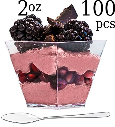 ImpiriLux Dessert Cups with Spoons | Pack of 100 Mini 2 oz Square Plastic Dessert Cups + 100 Spoons| Chic Presentation of Desserts, Appetizers and Much ()