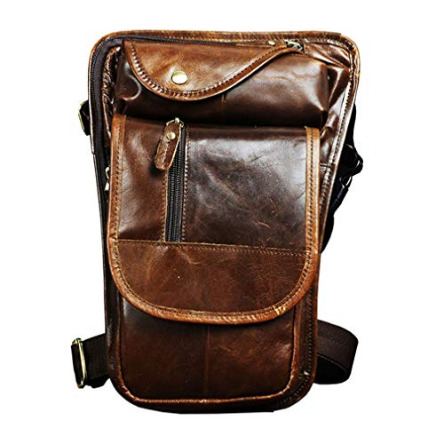 Xieben Drop Leg Bag Tactical Thigh Pack Waterproof Leather Motorcycle Waist Bumbags Pouch Military Hip Belt Bag for Men Fanny Pack Shoulder Bag Hiking Camping Travel Hunting (Coffee)