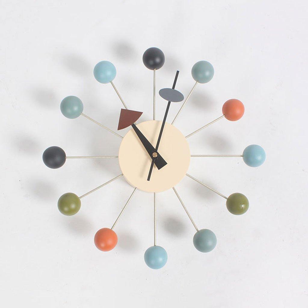 ファッションウォールクロックソリッドウッドパーソナリティ12インチラウンドモノクロサイレント (Color : Multi-colored) B07D5PT6XP Multi-colored Multi-colored