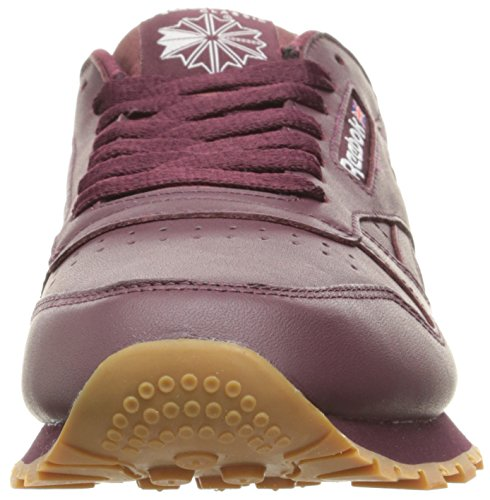 Men's Maroon Gum CU Lthr Gum Sneaker White Reebok CL Fashion 47wUP0dq
