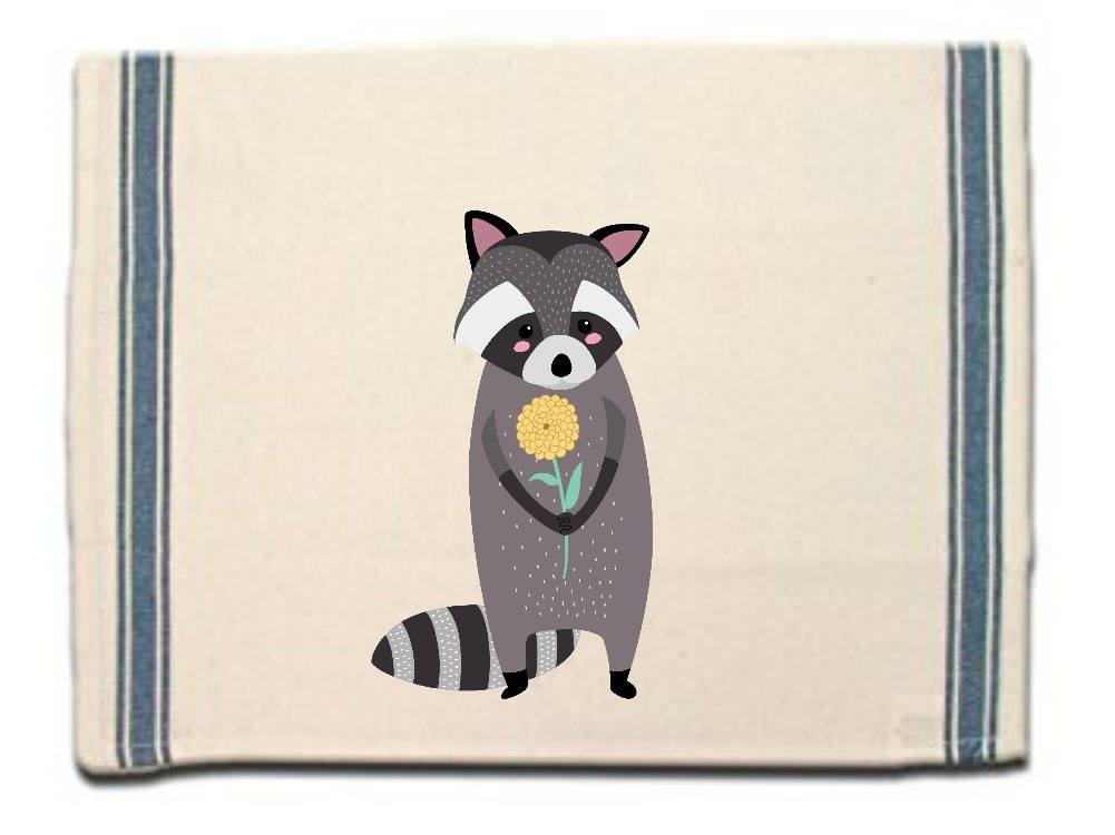 Raccoon with Flower Kitchen Towel|Dish Towel| Tea Towel| Flour Sack Material|Woodland Animals Dish Towel|Flour Sack Kitchen Towel|Dish Cloth