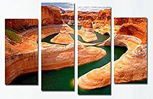 Wowdecor Wall Art 4 Pieces Multiple Pictures Canvas Prints - 4 Panels River & Valley Landscape Giclee Pictures Paintings Printed Pictures on Canvas, Posters Wall Decor Gift - UNFRAMED