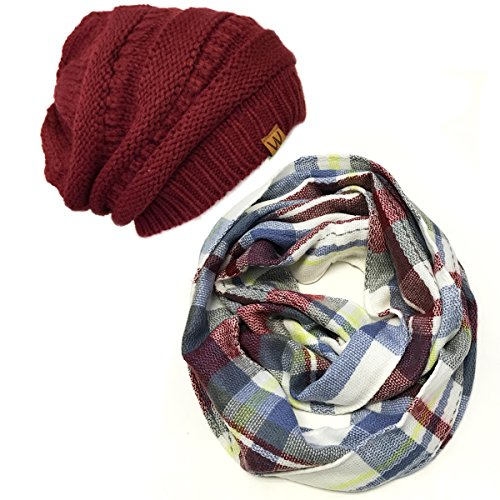 (Wrapables Adult's Plaid Print Infinity Scarf and Beanie Hat Set, gray/wine One)