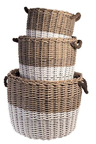 Vagabond Vintage Set of Three Round Grey Willow Baskets, 3 Piece