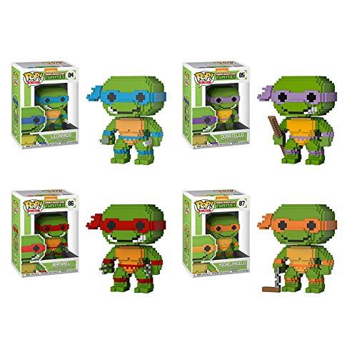 Funko 8-Bit Pop! Teenage Mutant Ninja Turtles Bundle with Leonardo #04, Donatello #05, Raphael #06, and Michaelangelo #07 Collectible Vinyl Figure Set (4 Items)