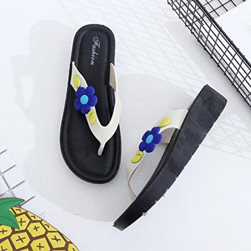 Damen Zehentrenner, Yogogo Blumen kühlen Anhänger weiche Pantoffel Strand Flip Flops Schuhe (36, Blau)