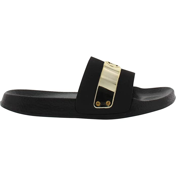 9d404683d4fb Amazon.com  Michael Kors Girl s Jett Floe Slides Black 11C  Shoes