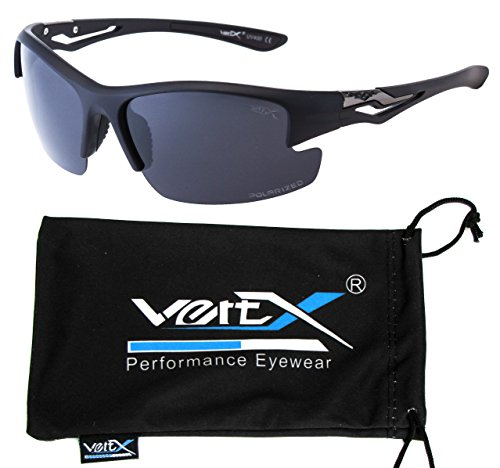 VertX Men's Polarized Sunglasses Sport Wrap Around Cycling Running Outdoor – Rubberized Black Frame - Smoke - Sunglasses Scratch Resistant Polarised