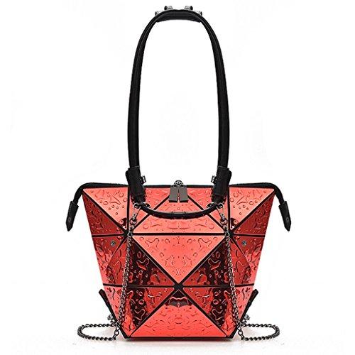 Handbag Bolso de Hombro de la Bolsa de Compras rombal de Las Mujeres Bolso de Hombro deformable Bolso pequeño Brillante A+ (Color : 2#) 3#