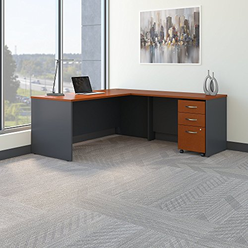 Auburn Filing File Cabinet - Bush Business Furniture Series C 72W L Shaped Desk with 48W Return and Mobile File Cabinet in Auburn Maple