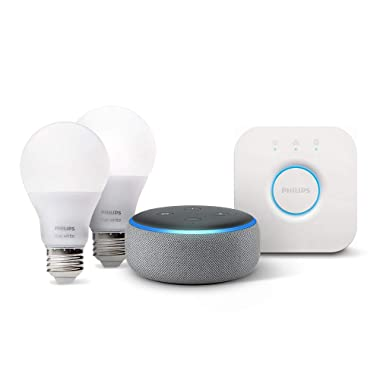 Echo Dot (3rd Gen) - Heather Gray with Philips Hue White Smart Light Bulb Starter Kit