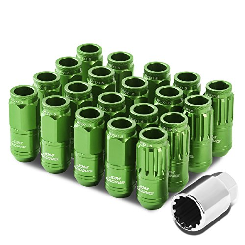 Alloy Wheel Nuts - M12 x 1.5 Open End Design 16-Piece Aluminum Alloy Wheel Lug Nuts + 4 x Lock Nut + 1 x Lock Nut Key (Green)