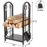 """DOEWORKS All-in-One Heavy Duty Hearth Firewood Rack with Fireplace Tools Set, 18"""" Wide x 27.5"""" Tall Log Holder, Black"""