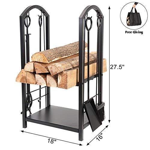 DOEWORKS All-in-One Heavy Duty Hearth Firewood Rack with Fireplace Tools Set, 18 Wide x 27.5 Tall Log Holder, Black