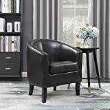 small leather club chair Belleze Modern Arm Club Chair Faux Leather Tub Barrel Style, Brown